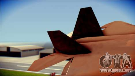 F-22 Raptor G1 Starscream para GTA San Andreas vista posterior izquierda