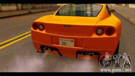 GTA 5 Dewbauchee Super GT para GTA San Andreas vista hacia atrás