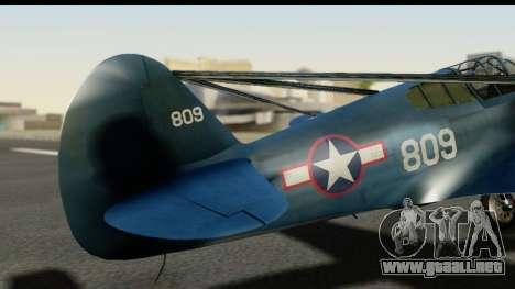 P-40E Kittyhawk US Navy para GTA San Andreas vista hacia atrás