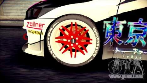Mitsubishi Lancer Evolution X Juuzo Itasha para GTA San Andreas vista posterior izquierda