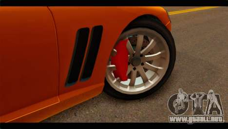 GTA 5 Dewbauchee Super GT para GTA San Andreas vista posterior izquierda