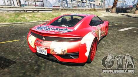 GTA 5 Dinka Jester (Racecar) Senran Kagura Ryobi Itasy vista lateral izquierda trasera