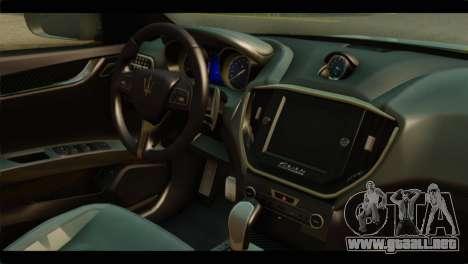 Maserati Ghibli S 2014 v1.0 SA Plate para GTA San Andreas vista posterior izquierda