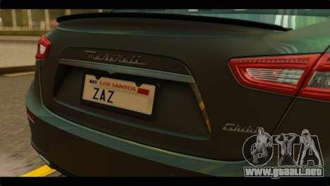 Maserati Ghibli S 2014 v1.0 SA Plate para la visión correcta GTA San Andreas