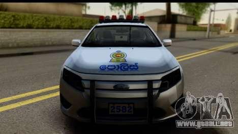 Ford Fusion 2011 Sri Lanka Police para GTA San Andreas vista posterior izquierda