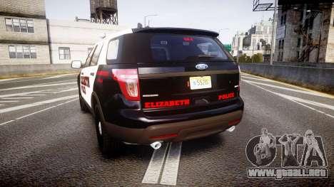Ford Explorer 2011 Elizabeth Police [ELS] v2 para GTA 4 Vista posterior izquierda