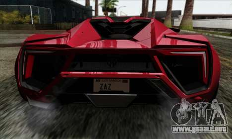 Lykan Hypersport 2014 Livery Pack 1 para GTA San Andreas vista hacia atrás