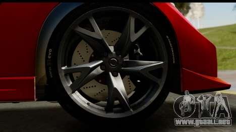 Nissan 370Z Nismo 2010 para GTA San Andreas vista hacia atrás