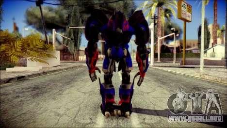 Optimus Prime Skin from Transformers para GTA San Andreas segunda pantalla