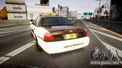 Ford Crown Victoria Liberty Sheriff [ELS] para GTA 4 Vista posterior izquierda