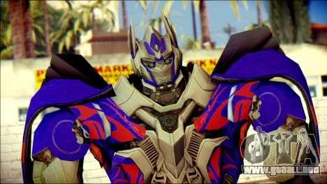 Optimus Prime Skin from Transformers para GTA San Andreas tercera pantalla
