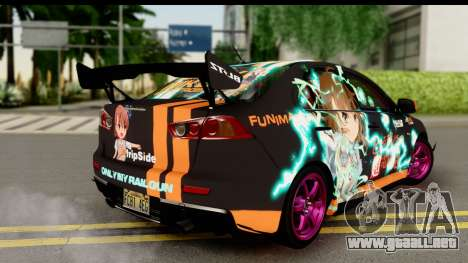Mitsubishi Lancer Evolution X 2014 Itasha para GTA San Andreas left