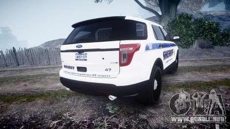 Ford Explorer Police Interceptor [ELS] slicktop para GTA 4 Vista posterior izquierda