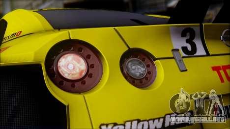 Nissan GTR R35 JGTC Yellowhat Tomica 2008 para vista lateral GTA San Andreas