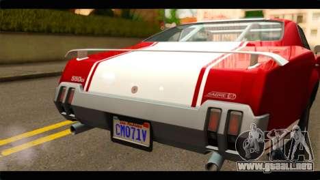 GTA 5 Declasse Sabre GT Turbo para GTA San Andreas vista hacia atrás