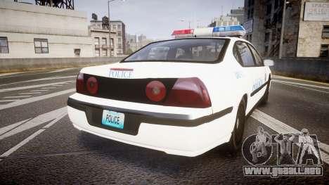 Chevrolet Impala Metropolitan Police [ELS] Pat para GTA 4 Vista posterior izquierda