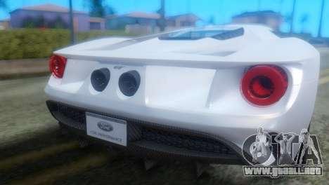 Ford GT 2017 para GTA San Andreas vista hacia atrás