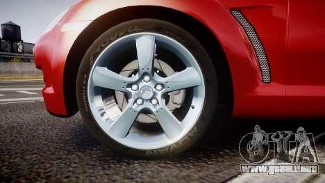 Mazda RX-8 2006 v3.2 Advan tires para GTA 4 vista hacia atrás