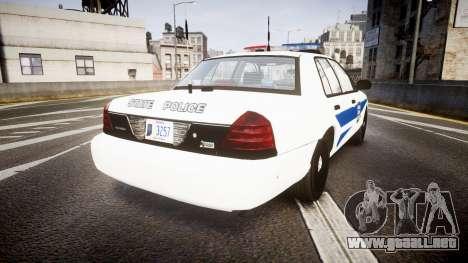 Ford Crown Victoria Indiana State Police [ELS] para GTA 4 Vista posterior izquierda