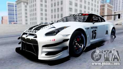 Nissan GT-R (R35) GT3 2012 PJ2 para visión interna GTA San Andreas