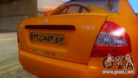 Tiba Taxi v1 para GTA San Andreas vista hacia atrás