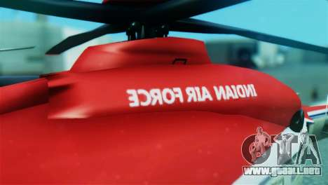 Indian Air Force EC-135 Dhruv SARANG Skin para GTA San Andreas vista hacia atrás