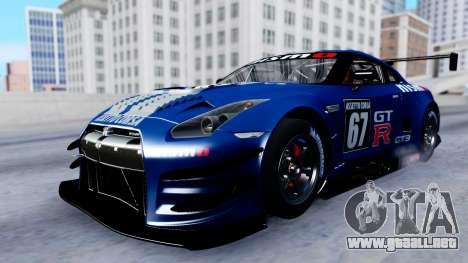 Nissan GT-R (R35) GT3 2012 PJ2 para la vista superior GTA San Andreas
