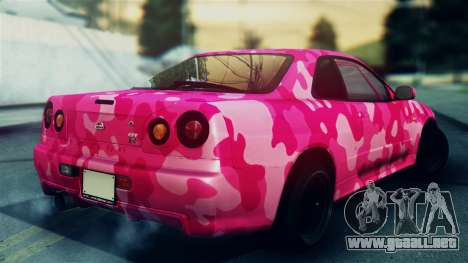 Nissan Skyline R34 Camo Drift para GTA San Andreas left