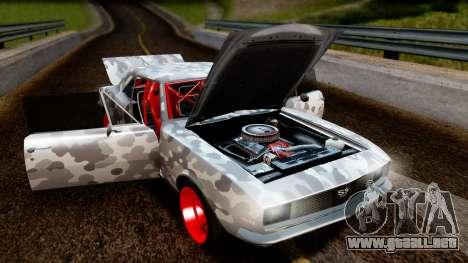 Chevrolet Camaro SS Camo Drift para GTA San Andreas vista hacia atrás