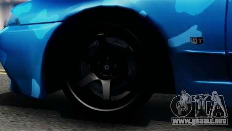 Nissan Skyline R32 Camo Drift para GTA San Andreas vista posterior izquierda