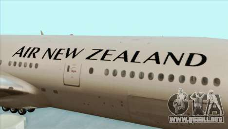 B777-200ER Air New Zealand Black Tail Livery para GTA San Andreas vista hacia atrás