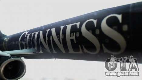 Boeing 737-800 Ryanair Guinness para GTA San Andreas vista hacia atrás