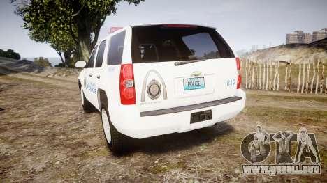 Chevrolet Tahoe Metropolitan Police [ELS] para GTA 4 Vista posterior izquierda