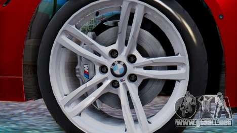 BMW M4 2015 HQLM para GTA San Andreas vista posterior izquierda