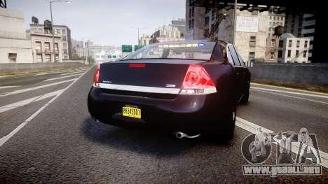 Chevrolet Impala Unmarked Police [ELS] ntw para GTA 4 Vista posterior izquierda