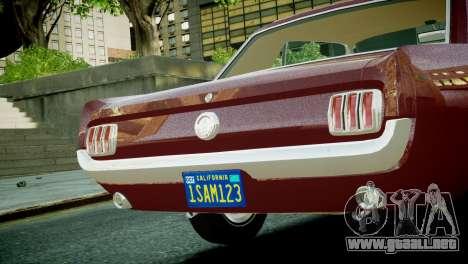 Ford Mustang 1965 para GTA 4 visión correcta