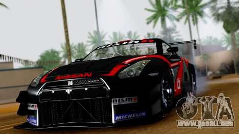Nissan GT-R (R35) GT3 2012 PJ3 para GTA San Andreas vista hacia atrás