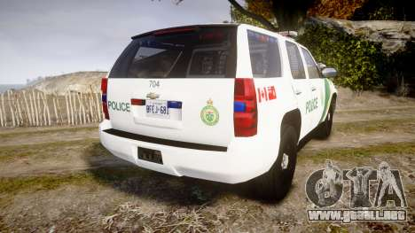 Chevrolet Tahoe Niagara Falls Parks Police [ELS] para GTA 4 Vista posterior izquierda