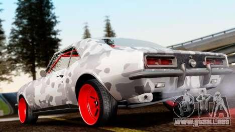 Chevrolet Camaro SS Camo Drift para GTA San Andreas vista posterior izquierda