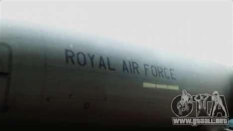 Boeing 737-800 Royal Air Force para GTA San Andreas vista hacia atrás