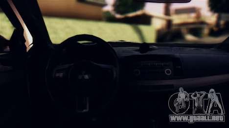 Mitsubishi Lancer Evo X 2011 Rally Bohemia para visión interna GTA San Andreas