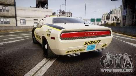 Dodge Challenger MCSO [ELS] para GTA 4 Vista posterior izquierda