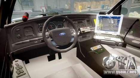 Ford Crown Victoria Indiana State Police [ELS] para GTA 4 vista hacia atrás