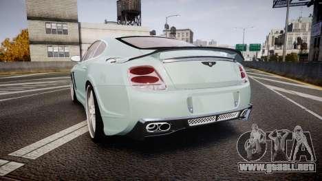 Bentley Continental GT Platinum Motorsports para GTA 4 Vista posterior izquierda