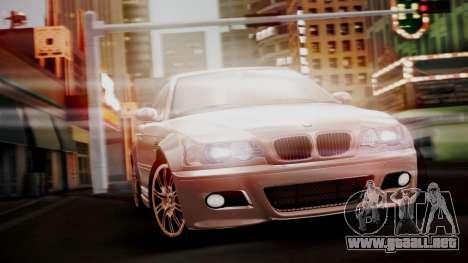 BMW M3 E46 v2 para GTA San Andreas vista hacia atrás