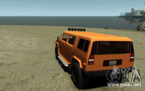 Mammoth Patriot Pickup para GTA 4 vista hacia atrás