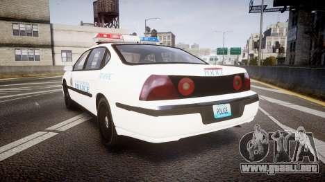 Chevrolet Impala Metropolitan Police [ELS] Traf para GTA 4 Vista posterior izquierda