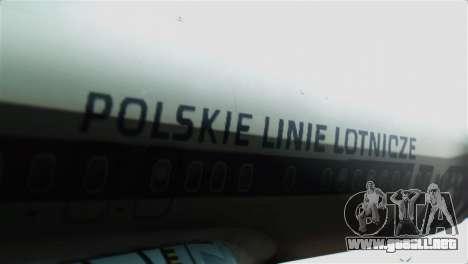 Boeing 737-800 Polskie Linie Lotnicze LOT para GTA San Andreas vista hacia atrás