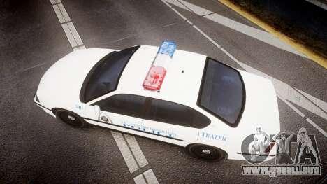 Chevrolet Impala Metropolitan Police [ELS] Traf para GTA 4 visión correcta