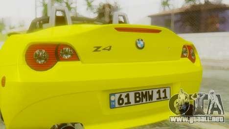BMW Z4 Construcción de la Ens para GTA San Andreas vista hacia atrás